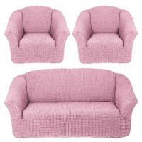 Чехол на диван и 2 кресла без оборки розовый MC-10