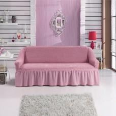 Чехол на трехместный диван с юбкой розовый W-14
