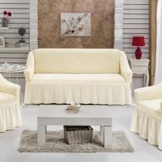 Чехол на диван и 2 кресла универсальные шампань S-06