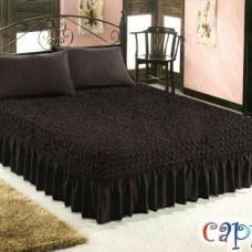 Чехол покрывало на кровать на резинке с 2 наволочками темно серый