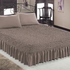 Чехол покрывало на кровать на резинке с 2 наволочками кофе