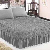 Чехол покрывало на кровать на резинке с 2 наволочками серый