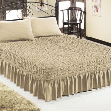 Чехол покрывало на кровать на резинке с 2 наволочками бежевый