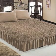 Чехол покрывало на кровать на резинке с 2 наволочками какао