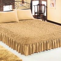Чехол покрывало на кровать на резинке с 2 наволочками медовый
