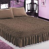 Чехол покрывало на кровать на резинке с 2 наволочками коричневый