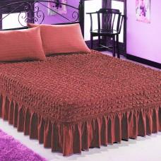 Чехол покрывало на кровать на резинке с 2 наволочками бордовый