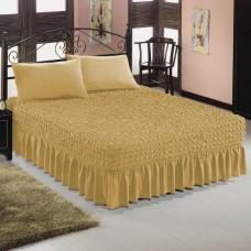 Чехол покрывало на кровать на резинке с 2 наволочками горчица