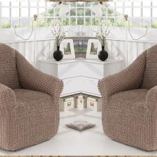 Натяжные чехлы на кресла без оборки комплект 2шт. Какао