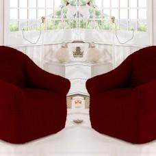 Чехол на кресло без оборки комплект 2шт. бордовый Y-02