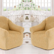 Чехол на кресло универсальное без оборки комплект 2шт. медовый Y-01