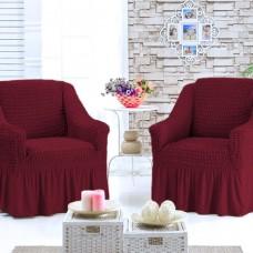 Чехол на кресло универсальное  комплект 2 шт. бордовый G-02