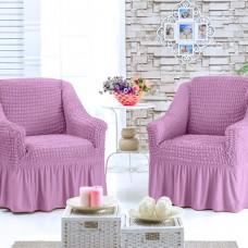 Чехол для кресла комплект 2 шт. грязно-розовый G-04