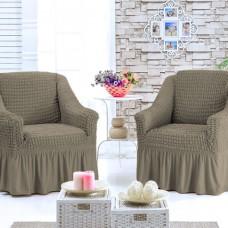 Чехол на кресло с оборкой комплект 2 шт. кофеG-07