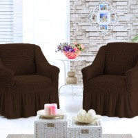Чехол на кресло универсальное комплект 2 шт. коричневый G-06