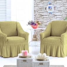 Универсальныйе чехлы на кресла с оборкой комплект 2 шт. Песочный