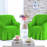 Чехлы на кресла на резинке с оборкой комплект 2 шт.  Салатовый