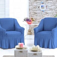 Турецкий чехол на кресла с оборкой комплект 2 шт. Синий