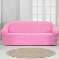 Чехол на четырехместный диван без оборки нежно розовый
