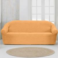 Чехол на четырехместный диван без оборки персиковый