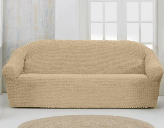Чехол на четырехместный диван без оборки песочный