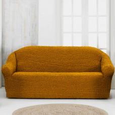 Чехол на четырехместный диван без оборки рыже коричневый