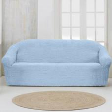 Чехол на четырехместный диван без оборки серо голубой