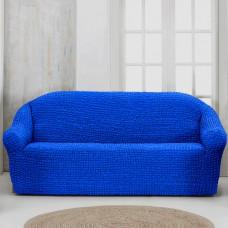 Чехол на четырехместный диван без оборки синий