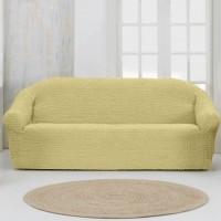 Чехол на четырехместный диван без оборки бежевый