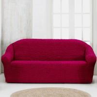 Чехол на четырехместный диван без оборки бордовый