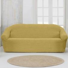 Чехол на четырехместный диван без оборки горчичный