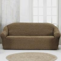 Чехол на четырехместный диван без оборки кофе