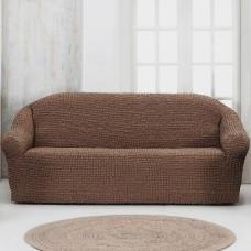 Чехол на четырехместный диван без оборки Коричневый