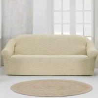 Чехол на четырехместный диван без оборки кремовый
