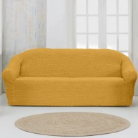 Чехол на четырехместный диван без оборки ярко рыжий