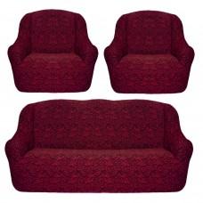 Чехол для мебели на диван и 2 кресла жаккард бордовый S-20