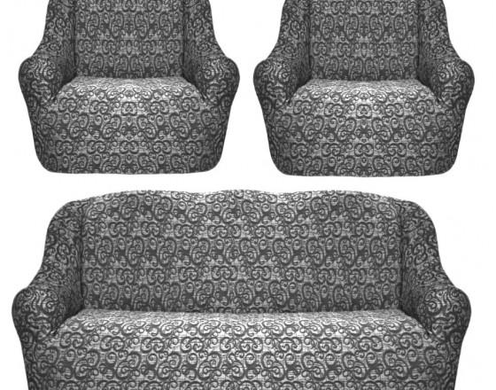 Евро чехлы на мягкую мебель на резинке жаккард серый