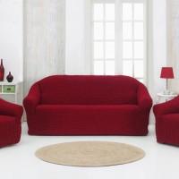 Натяжные чехлы на мягкую мебель без оборки бордовый MC-14