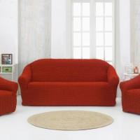 Чехол на диван и 2 кресла без оборки кирпичный MC-08