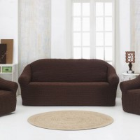 Чехол на диван и 2 кресла без оборки коричневый MC-01