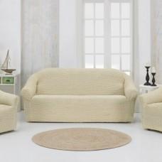 Чехлы на мягкую мебель на резинке без оборки натурал MC-15