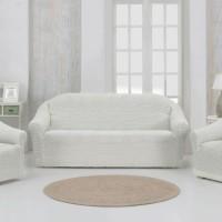 Чехол на диван и 2 кресла без оборки шампань MC-13