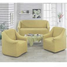 Чехол на диван и 2 кресла без оборки бежевый MC-04