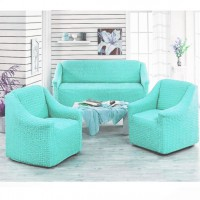 Чехол на диван и 2 кресла без оборки бирюзовый MC-12