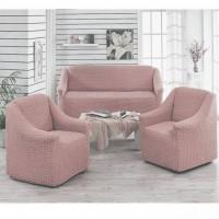 Чехол на диван и 2 кресла без оборки кофе с молоком MC-02