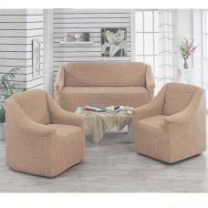Чехол на диван и 2 кресла без оборки какао  MC-03