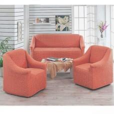 Чехол на диван и 2 кресла без оборки коралловый MC-09