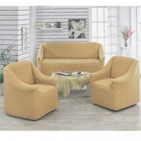 Чехол на диван и 2 кресла без оборки медовый MC-16