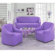 Чехол на диван и 2 кресла без оборки сиреневый MC-11