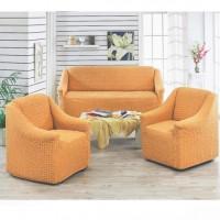 Чехол на диван и 2 кресла без оборки ярко рыжий MC-17